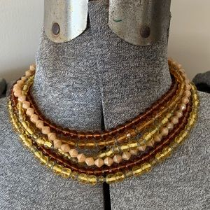 Vintage Amber Bohemian Beads Bearded Necklace